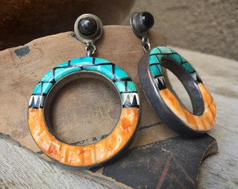 Vintage Native American Turquoise Mosaic Inlay Hoop Earrings with Black Onyx and Spiny Oyster