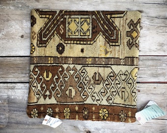 "Vintage Turkish Kilim Pillow Cover Yellows with Brown Accents 19.5"" x 19.5"""