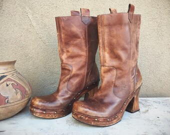 Vintage Women's Size 9 MIA Chunky Platform Clog Boots Distressed Brown Leather, Wooden Heel 1990s Wedge Heel
