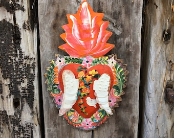 Mexican Tin Sacred Heart with Wings Milagro Wall Hanging, Folk Art, Rustic Southwestern Decor