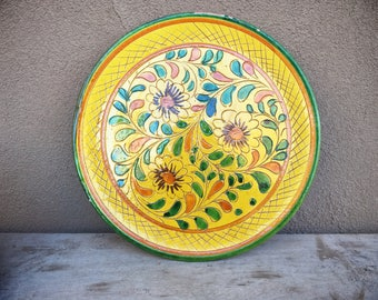 Vintage Sgraffito Italian Art Pottery Plate,Decorative Plate Rustic Home Decor