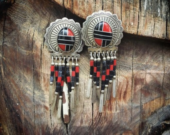 Southwestern Earrings Coral Onyx Sterling Silver Conchos with Dangles, Native American Indian Jewelry