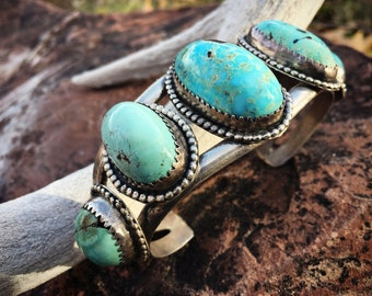 72g Vintage Turquoise Cuff Bracelet Five Stone Navajo, Native American Indian Jewelry, Old Pawn