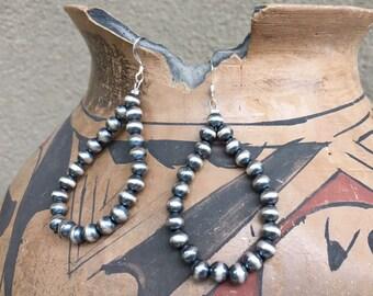 """2 1/2"""" Navajo Pearl Sterling Silver Bead Hoop Earrings, Native American Indian Jewelry"""