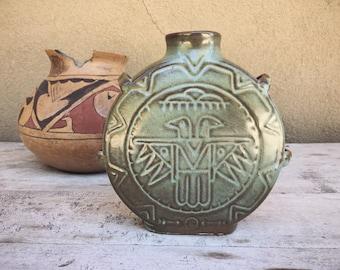 Vintage Frankoma Pottery Thunderbird Canteen Vase Prairie Green, Southwestern Home Decor