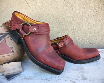 Gently Used Frye Mules Women's Size 8.5 M Made in USA Burgundy Leather Square Toe, Belted Harness Clog