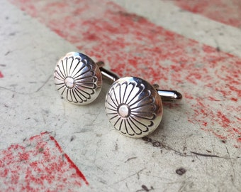 Small Silver Concho Cuff Links for Men Native American Indian Southwestern Cuff Links