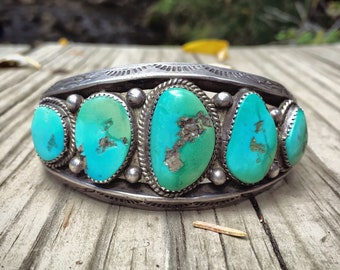 Navajo Blue Gem Turquoise Cuff Bracelet Circa 1940s, Five Stone Vintage Turquoise Old Pawn