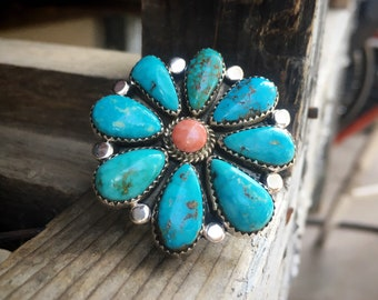 Large Blue Turquoise and Pink Rhodochrosite Cluster Ring Size 9, Native American Indian Jewelry