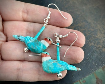 Carved Blue Turquoise Hummingbird Fetish Earrings by NM Artist Matt Mitchell, Southwest Jewelry