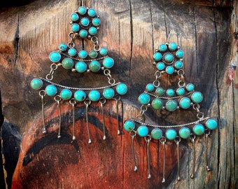35gm Vintage Turquoise Earrings for Women Large Chandelier Turquoise Cluster Sterling Silver, Anniversary Gift Wife, Native American Jewelry