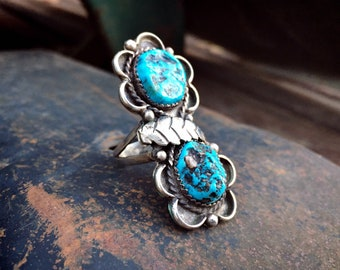 Traditional Navajo Nugget Turquoise Sterling Silver Leaf Ring Size 7.5, Native American Jewelry