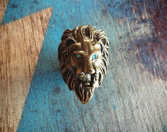 Brass Lion Ring Size 6 Costume Jewelry Statement Ring, Brass Ring, Leo Gifts, Lion Jewelry