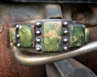 Fred Harvey Era Natural Turquoise Cuff Bracelet Unisex, 1930s to 1940s  Southwestern Jewelry