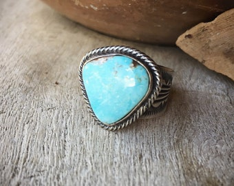 Signed Navajo Turquoise Cigar Band Ring for Women or Men Size 10, Thick Sterling Silver Navajo Ring
