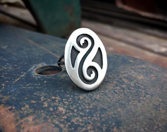 Navajo Kevin Yazzie Sterling Silver Overlay Ring Unisex Size 6.25, Native American Indian Jewelry