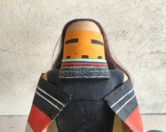 Hand Carved and Painted Long Hair Kachina Katsina (Angak'china), Hopi Native American Indian Art