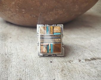 Tiger's Eye Turquoise Ring Navajo Jewelry Native American Indian Jewelry, Tiger Eye Jewelry