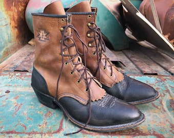 Two Tone Brown Black Leather Packer Cowboy Boots for Women Size 8-1/2 M (Run Small), Lace Up Boot