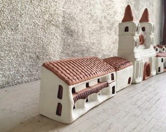 Vintage Miniature Pottery Village Mexican Folk Art with Church and Houses on Plaza, Southwestern Gifts