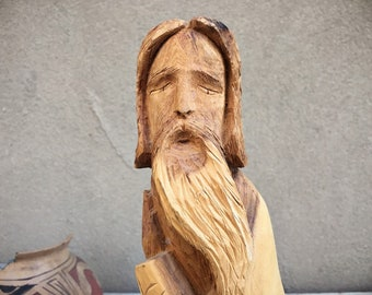 Michael Salazar Taos New Mexican Folk Art Carved Wood Saint Statue, Spanish Colonial Religious Art Bulto