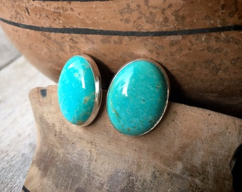 Smallish Oval Turquoise Post Earrings for Women, Southwestern Native American Indian Style Jewelry