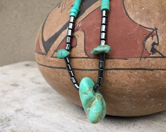 1970s Turquoise Nugget and Hematite Necklace with Heishi, Chunk Turquoise Native America Indian Jewelry