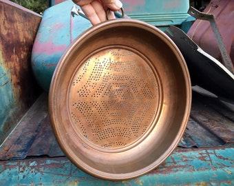 Heavy Vintage Copper Sieve Colander Wall Hanging, Rustic Kitchen Decor, Gallery Wall Display