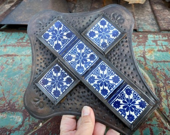 Medium-Small Ceramic Tile and Dark Stamped Metal Cross Wall Hanging, Mexican Southwestern Decor