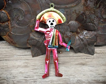 Beer Drinking Calavera Skeleton Tin Ornament from Mexico for Christmas or Day of the Dead