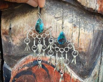 Boho Earrings Silver Tone Ethnic Hippie Earrings, Boho Jewelry, Silver Turquoise Style Dangle Earrings Fringe Earrings Girlfriend Gift