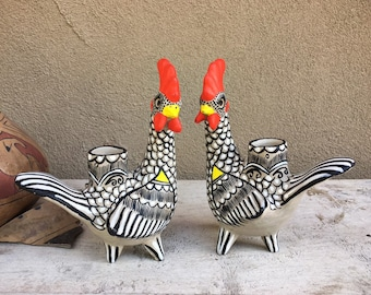 Pair of Black White Ceramic Rooster Candleholders Intricate Painted Mexican Pottery Folk Art Chicken