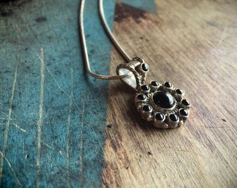 Black Onyx Pendant Sterling Silver Necklace, Native American Indian Jewelry, Navajo Necklace