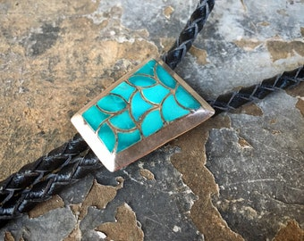 Vintage Turquoise Bolo Tie Men's or Women's Zuni Channel Inlay Fish Scale Bola, Native American