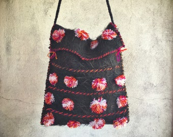 Boho felted bag fuzzy black with pink orange white pom poms cloth tote lightweight purse