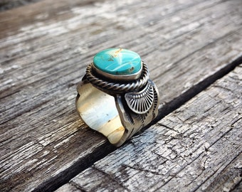 Turquoise Ring for Women Stamped Sterling Silver Cigar Band, Native American Indian Jewelry