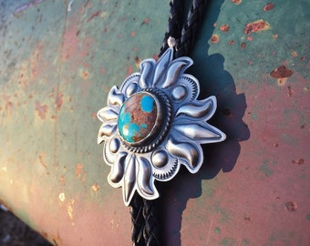 Silver Repousse and Natural Turquoise Bolo Tie for Men Women Unisex, Sun Design, Cowboy Fashion