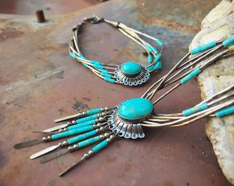 """Vintage 5-Strand """"Liquid Silver"""" Heishi Turquoise Necklace and Bracelet Set, Native American Indian Jewelry"""