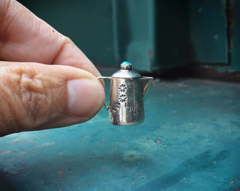Navajo Wesley Whitman Miniature Coffee Kettle Teapot Turquoise and Silver Charm, Native American Indian Jewelry