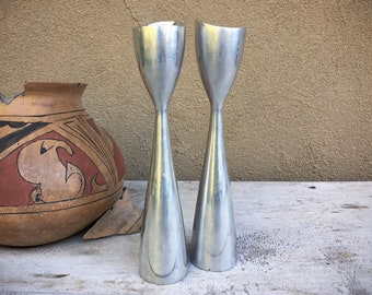 Pair of Danish Modern Aluminum Candle Holder Set, Midcentury Modern Mid Mod Home Decor