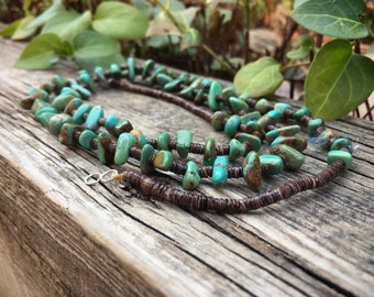 """27"""" Turquoise Nugget Necklace for Women, Native American Indian Jewelry, Mothers Day Gift"""