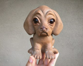 Vintage Ceramic Dog with Glass Eyes by R. Hetrick for Freeman McFarlin, California Pottery Puppy