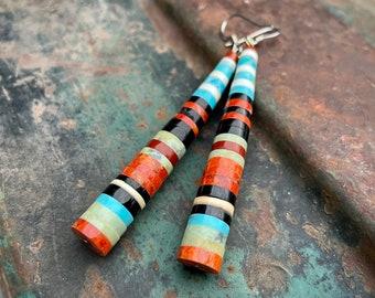 Turquoise Spiny Oyster Black Onyx Multistone Heishi Earrings by Santo Domingo Pula Calabaza