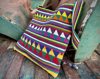 Woven Multicolor Hippie Boho Ethnic Summer Festival Tote for Woman, Ethnic Shoulder Bag Guatemala