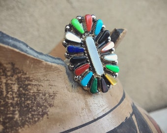 Turquoise Ring with Multi Stones Petit Point Zuni Jewelry, Native American Indian Jewelry