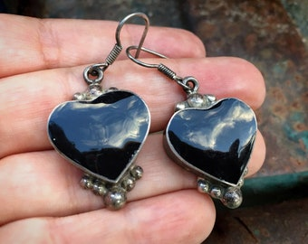 Vintage Taxco Sterling Silver Heart Earrings with Black Enamel, Mexican Jewelry, Heart Dangles