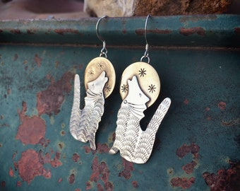 Sterling Silver Howling Coyote with Brass Moon Earrings for Women, Wolf & Moon Jewelry