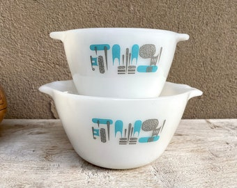 Pair of Vintage Fire King Blue Heaven Mixing Bowls with Atomic Mod Retro Design, Midcentury
