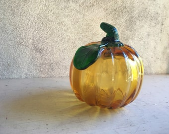 "Vintage 5-1/2"" Tall Pumpkin Figurine Hand Blown Glass, Art Glass Vegetables, Fall Decor Autumn, Glass Pumpkin Decor, Halloween Decorations"