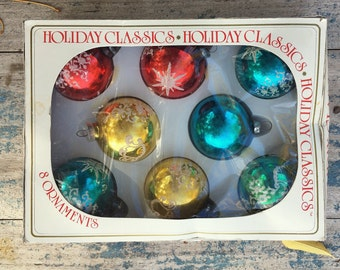 Vintage Flocked Glass Christmas Ornaments in Original Box Multi Color Bulbs